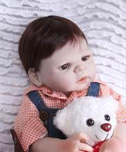 Real Lifelike Full Body Silicone Reborn Baby Boy Dolls 22inch 56cm Newborn Wearing Cute Boy Washable Toy Gift Set for Kids(China)