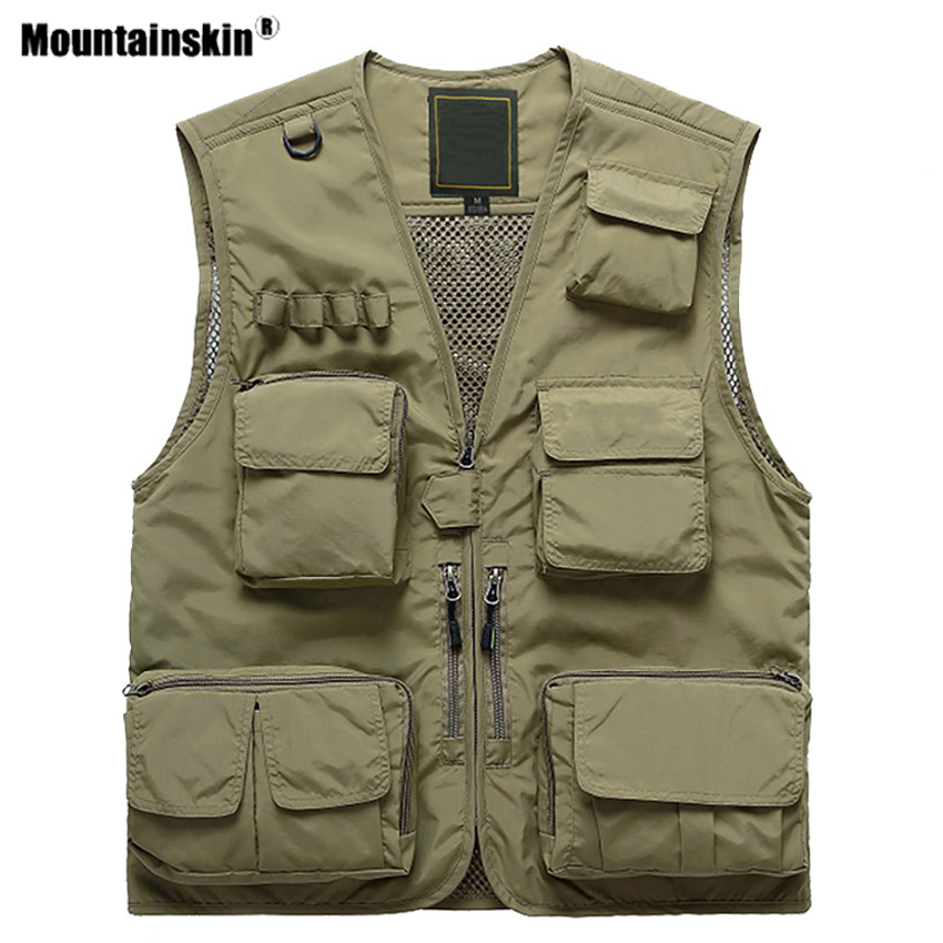 Mountainskin Men's Hiking Vests Outdoor Multi-pockets Unloading Dry Thin Mesh Military Cargo Male Coats Waistcoat For Men VA707