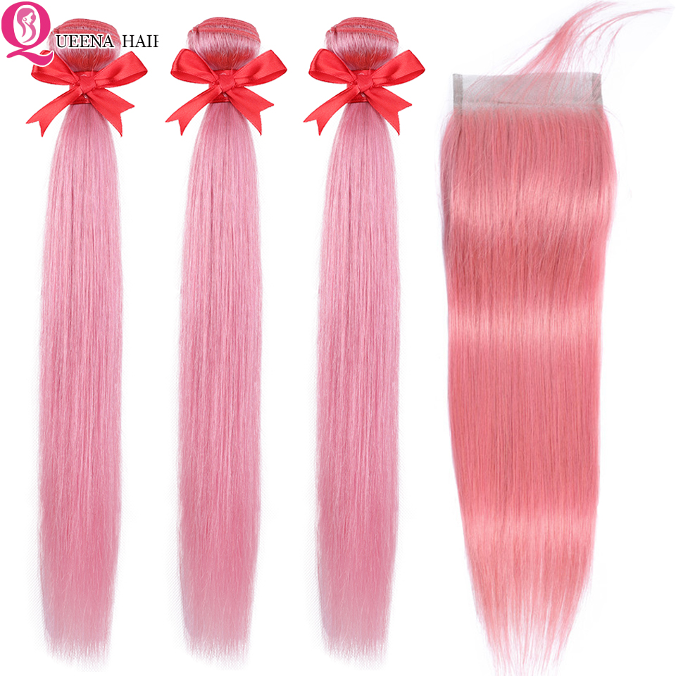 Straight Hair Pink Bundles With Closure Beauty Colored Brazilian Hair Weave Bundles With Closure Remy Pink Human Hair Extension