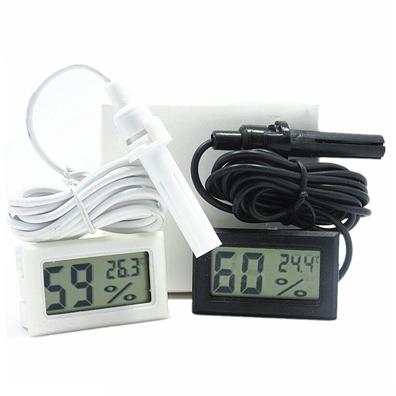 Professional Mini Probe Digital LCD Thermometer Hygrometer Humidity Temperature Meter Indoor Digital LCD Display White Black