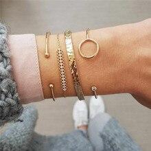 VAGZEB New 4 Pcs/set Womens Fashion Irregular Geometric Circle Crystal Beads Gold Color Bracelet Set Bohemian Charm Jewelry