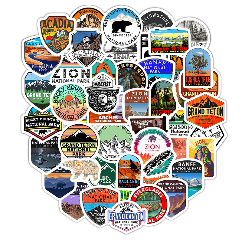50 Pcs Outdoors Water Bottle Stickers Waterproof Vinyl Stickers Water Bottles Decal Stickers National Park Stickers