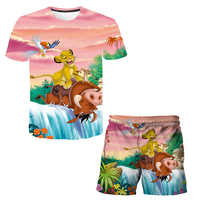 Boys Shorts Suits Children's Clothing Girls T-Shirt Suits Lion King Graphics 3D Printing Anime Clothing Suits Wth Pants, Active