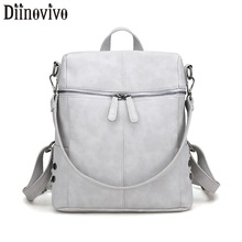 DIINOVIVO Luxury Leather Ladies Backpack Women Punk Designer Travel Bags for Teenager Girls School Bag Mochilas Mujer WHDV0103