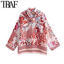 TRAF moda damska z szalikiem z nadrukiem luźna asymetryczna bluzka w stylu Vintage z długim rękawem boczne otwory wentylacyjne koszule damskie eleganckie koszule