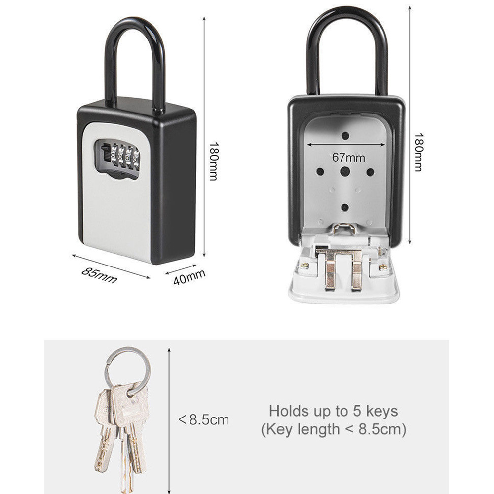 4-Digit Combination Lock Key Safe Storage Box Padlock Security Home Outdoor Supplies VH99