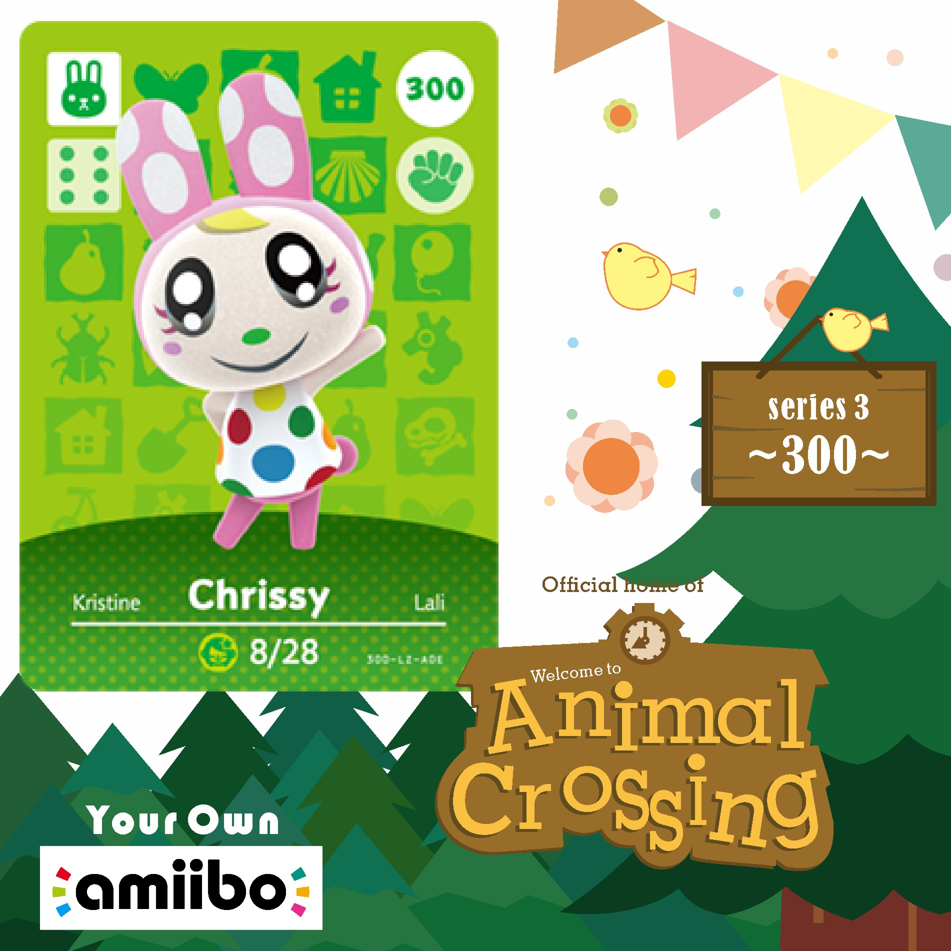 Animal Crossing 300 Villager Amiibo Chrissy Cards Amiibo Chrissy Game Card for NS game New Horizosn Chrissy 300 Season Series 4 1