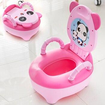 Pote bebê Crianças Treinador Higiênico Treinamento Potty Toilet Seat Crianças Panda Dos Desenhos Animados saco de Viagem Portátil Urinal Potes de Encosto Confortável