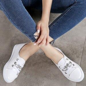 Image 5 - Tkn 秋白靴女性フラット革の靴女性のレースアップレディースコンフォートホワイトボード靴カジュアル女性スニーカー女性