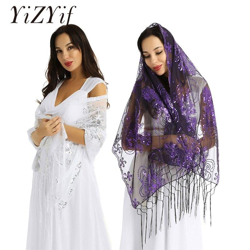 Women Shawl Wrap Scarves Sequin Shiny Retro Vintage 1920s Glittering Scarf Mesh Sequin Wedding Cape Fringed Evening Shawl Wrap