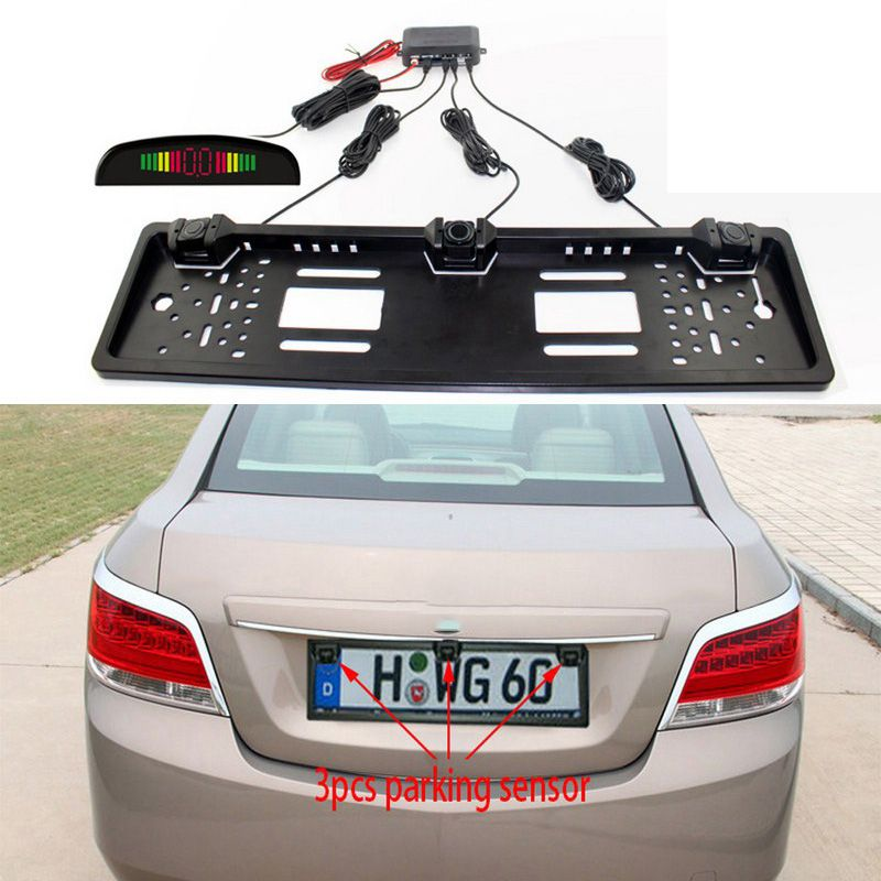 Car Parking Sensor Kit Auto Reversing Radar European License Plate Camera Front Back Electromagnetic Monitor System 3 Sensors