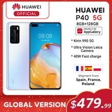 Em estoque versão global huawei p40 5g smartphone kirin 990 8gb 128gb 50mp ultra versão câmera 6.1 polegada supercharge nfc