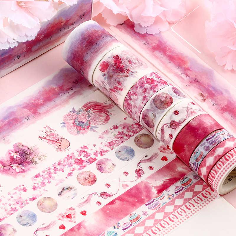 10 Pcs/Set Cute Daun Tanaman Washi Tape Kawaii Bunga Masking Tape Whale Pita Dekoratif untuk Stiker Scrapbooking DIY Foto Album