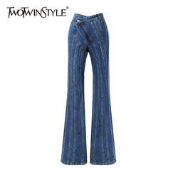 TWOTWINSTYLE Striped Denim Flare Jeans For Women High Waist Casual Irregular Pants Female Fashion New Clothing 2020 Autumn Tide