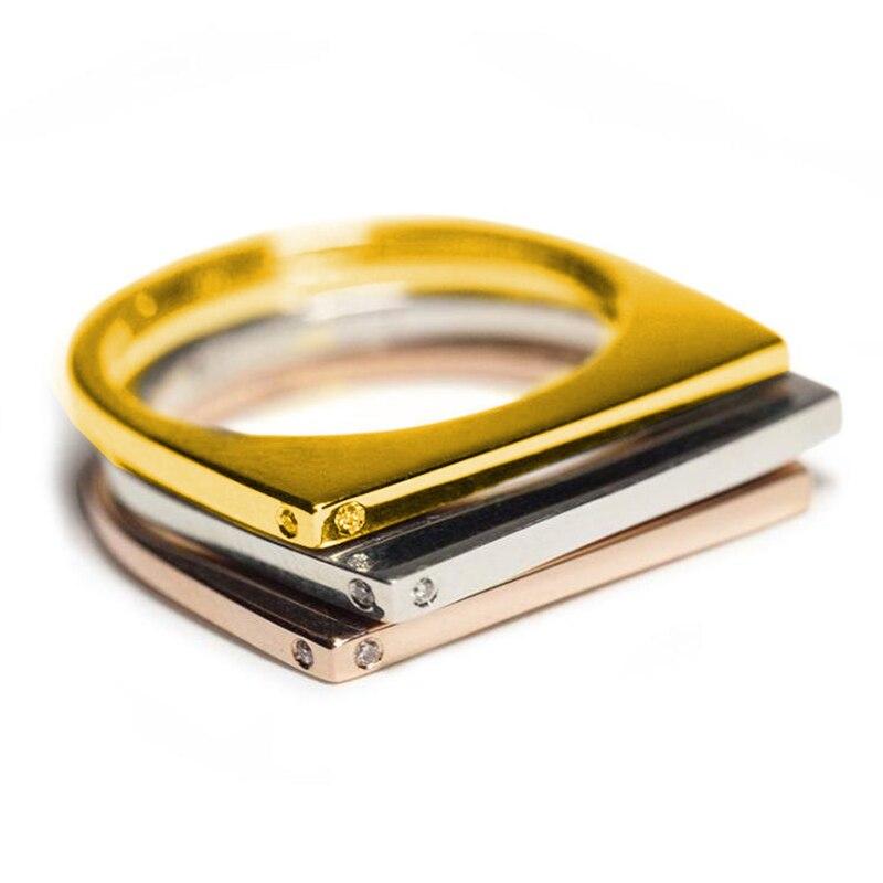 Nuevos anillos de dedo de Metal dorado en forma de U para mujeres joyería Simple moda plata Rosa oro CZ regalo de anillos de boda Z3T324 FORSEVEN lujo princesa reina mujeres chica novia boda joyería del pelo Lágrima de cristal oro rojo blanco verde corona Tiara