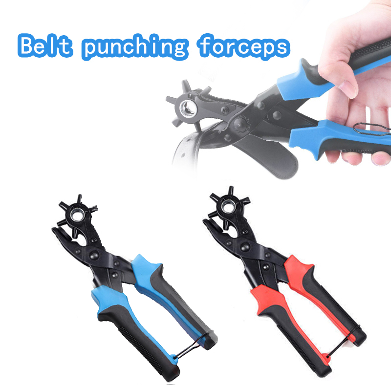 Multifunction Belt Hole Puncher Plier with 6 Holes Fabric Revolving Leather Hole Punch for Belts Watch Bands Straps Cards Paper Pliers     - title=
