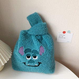 Plush handbag Winter Cartoon small bag Cute Face Embroidery Hand Bag Women Solid Color Ladies Bag Tote 28*30cm with coin bag