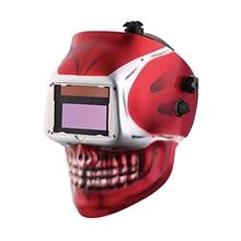 Солнечная Сварочная маска с автоматическим/сварочный шлем/крышка сварщика/маска для лица для Tig Mig Mma Mag сварочное оборудование(красный череп