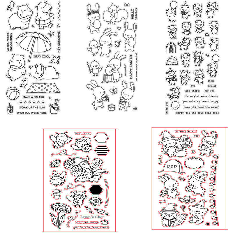 Joy Interaction Small Animal Cartoon Hippo Bee Cow Cow Fox Butterfly Bunny Clear Stamps For DIY Scrapbooking Card Making 2019