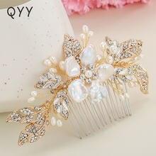 Qyy ручной работы свадебные гребни для волос пресноводный жемчуг
