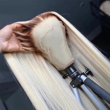 Ombre Blonde Human Hair Wigs For Women Long Straight 4T613 Brazilian Remy Hair Transparent
