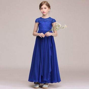 Long Formal Party Dress For Kids Girl Royal Blue Chiffon Lace Communion Princess Gowns Flower Girl Dresses For Wedding Birthday princess birthday costumes party flower girl dresses for wedding party elegant princess girl formal dress first communion dress