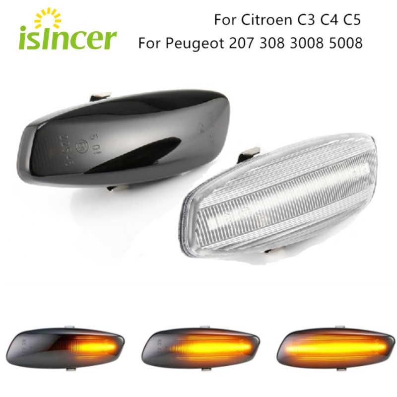 Dynamic LED Wing Side Indicator Repeater Light For Peugeot 207 308 3008 5008 RCZ