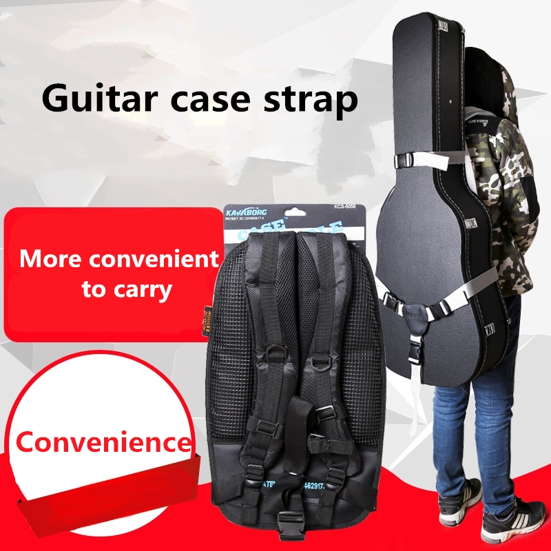 Guitar Box Strap Auxiliary Backpack Case Acoustic Electric Bass Convenience Easy Carry Light Hard Soft Travel Gary Black