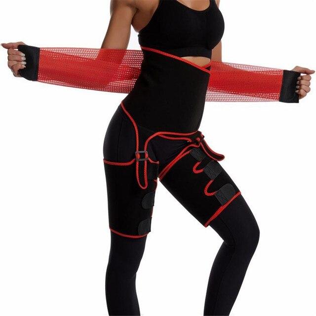 2020 Newest Neopreme Slim Thigh Trimmer Butt Lifter Leg Shaper Fat Burning Compress Waist Trainer Belt Sweat Shapewear Orange 1