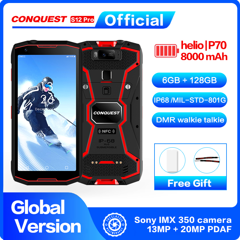 CONQUEST S12 Pro Outdoor Mobile Phone P70 Android 9.0 8000mAh IP68 Waterproof 5.99