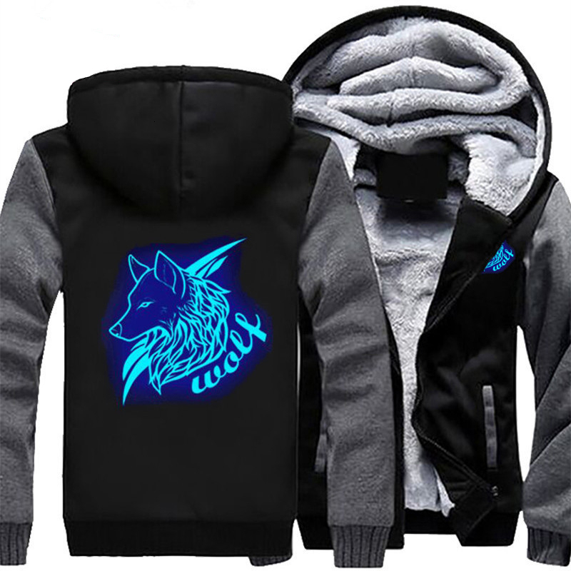 US Size Men Women Hoodie Glowing Wolf Man Luminous Jacket Winter Thicken Coat Clothing Casual