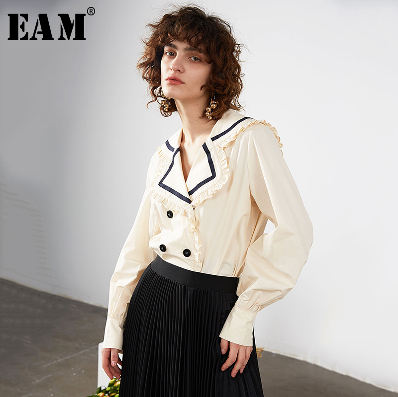 [EAM] Women Ruffles Split Joint Temperament Blouse New Lapel Long Sleeve Loose Fit Shirt Fashion Tide Spring Autumn 2020 1R688