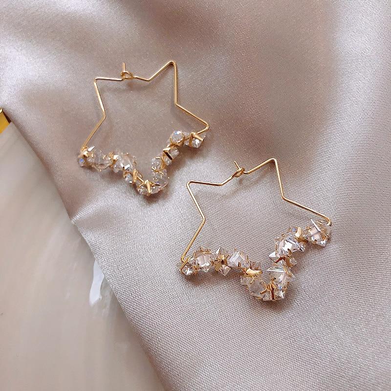 Unusual Earrings Small Hollow Out Five Pointed Star Earrings Fashion Luxury Crystal Earrings Women Jewelry Elegant Party Earring