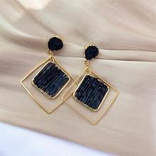 FYUAN Fashion Geometric Rhombus Drop Earrings for Women Black Crystal Dangle Earring lady Party Jewelry