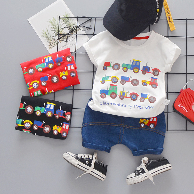 Toddler Baby Boy Clothes Summer Set Kid Boys Set Short Sleeve Car Print T Shirt Soft Denim Infant Children Clothing Outfit