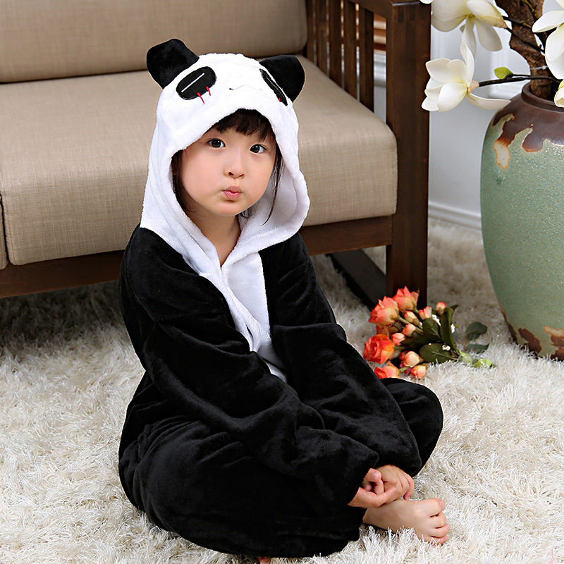 Children Cute Toilet One-piece Pajama Autumn And Winter Cute Cartoon Flannel Panda One-piece Home Wear