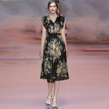 Женское модельное платье gedivoen кружевное элегантное плиссированное