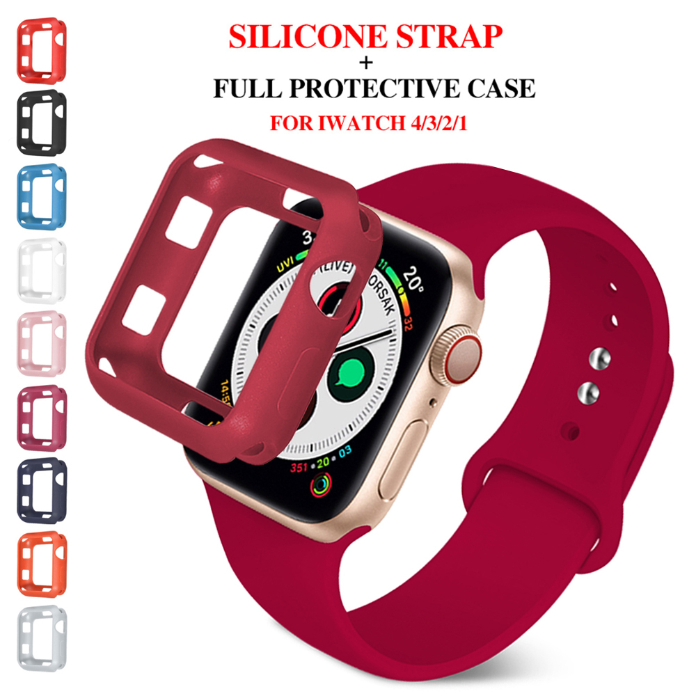 soft Silicone Sports Band for Apple Watch 5 4 3 2 1 38MM 42MM Bands Rubber+case Watchband Strap for Iwatch series 5 4 40mm 44mm image