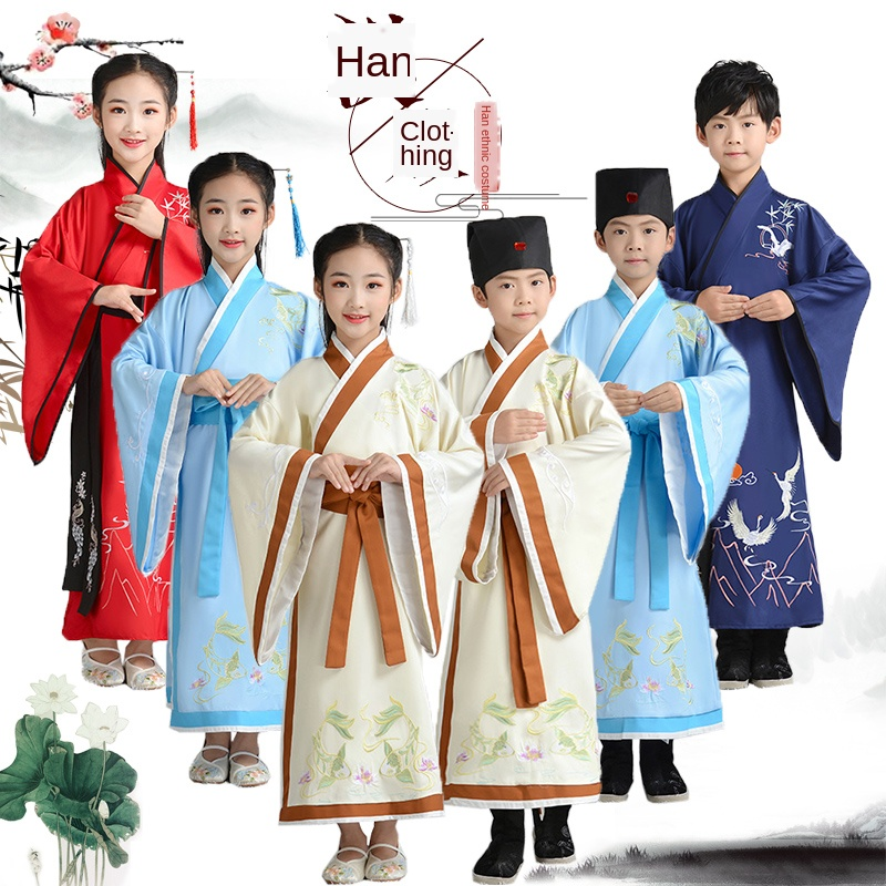 Children's costume Hanfu Chinese school uniform three-character disciples etiquette pen writing ceremony performance costume
