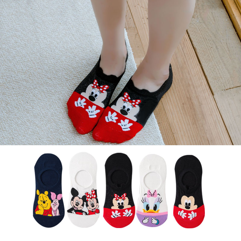 Disney 5 Pairs/Lot Casual Cute Women Scoks Cartoon Animal Mickey Mouse Donald Duck Invisible Ankle Socks Cotton Happy Funny Sock