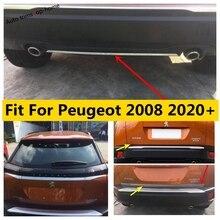 Yimaautotrims arka kuyruk bagaj/kapı/tampon/dekorasyon şerit paslanmaz çelik kapak Trim dış Peugeot 2008 2020 için 2021