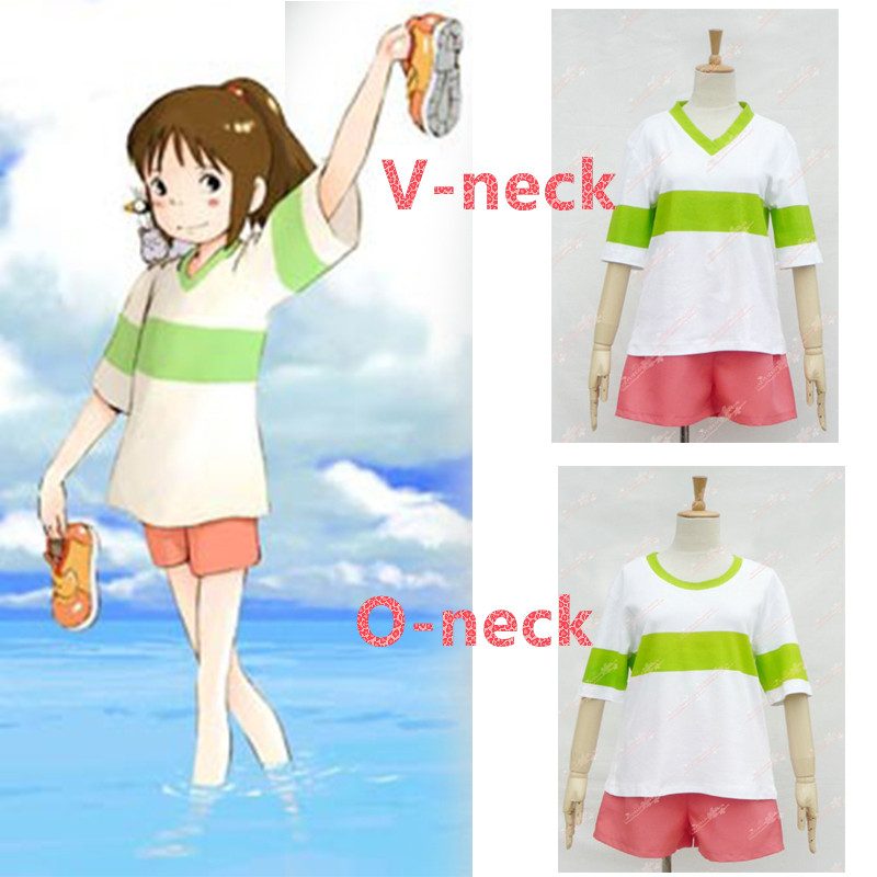 Anime Spirited Away Chihiro Ogino Cosplay Costume Japan Anime Casual Costumes T Shirt+Shorts Halloween Party Cosplay Costumes