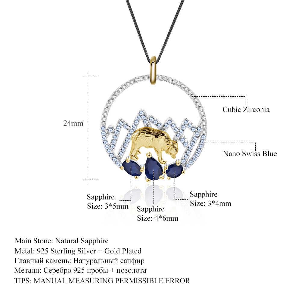 GEM'S الباليه 1.02Ct 925 فضة الياقوت الطبيعي اليدوية الثلوج الجبل الدب القطبي قلادة قلادة المرأة الجميلة مجوهرات