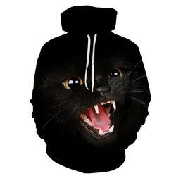 Gato preto adorável dos desenhos animados casual moletom com capuz 3d masculino feminino impresso moletom engraçado pulôver harajuku hip hop streetwear tops hoodies