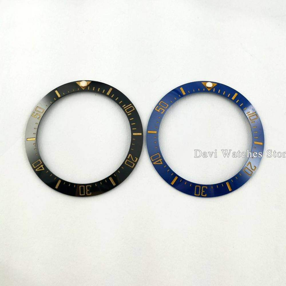 40mm 블랙/블루 시계 삽입 세라믹 베젤 삽입 시계 부품 맞는 43mm 자동 시계