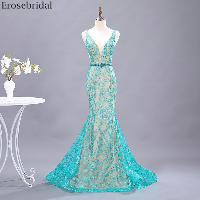 Erosebridal Green Bling Green Lace Prom Dress Mermaid 2020 New Beads Belt V Neck Long Evening Dress Small Train Open Back