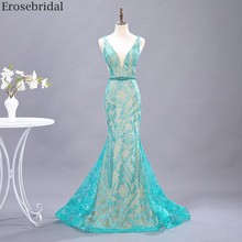 Erosebridal Green Bling Green Lace Prom Dress Mermaid 2020 New Beads Belt V Neck Long Evening Dress Small Train Open Back