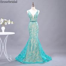 Erosebridal yeşil Bling yeşil dantel balo elbise Mermaid 2020 yeni boncuk kemer V boyun uzun gece elbisesi küçük tren açık arka