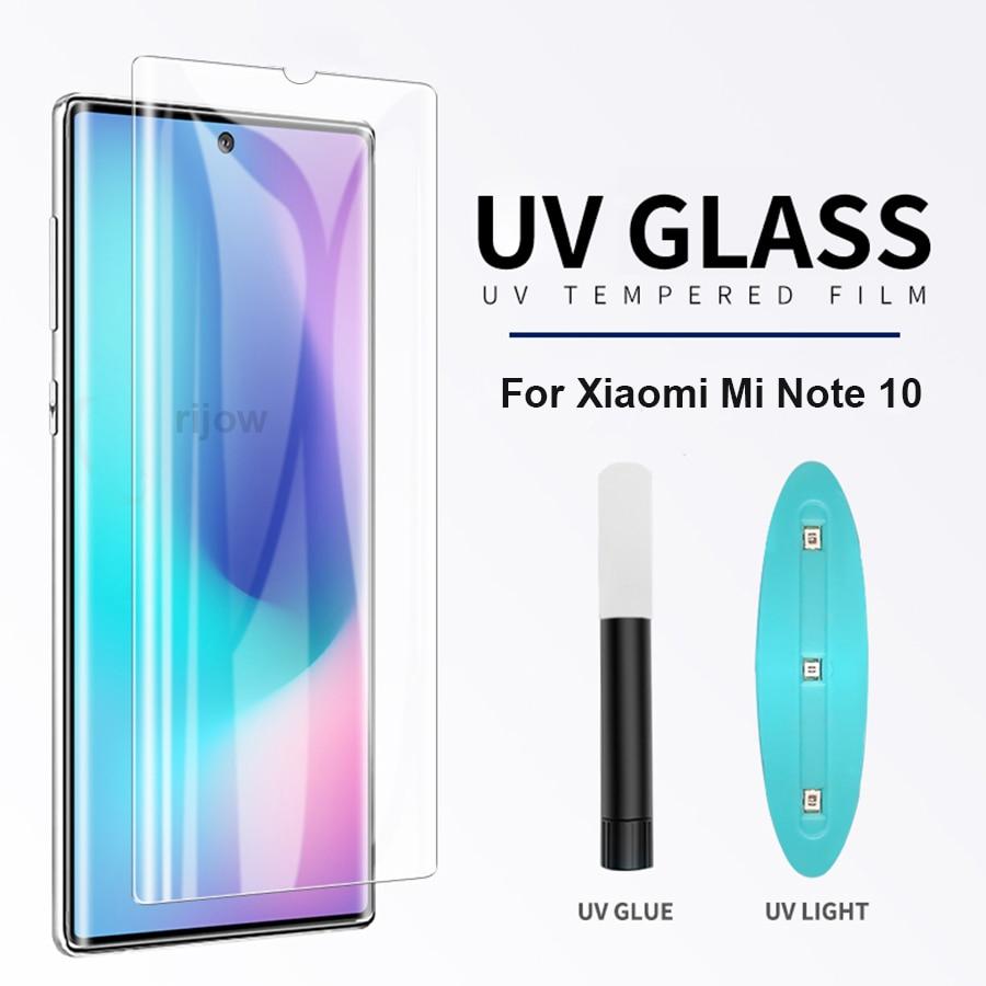 UV Liquid Full Glue Tempered Glass For Xiaomi Mi Note 10 Lite Pro Case Friendly Screen Protector Xiomi Mi CC9 Pro Glass Film 5G