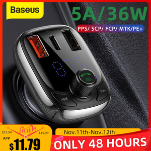 Image 1 - Baseus FM Transmitter Modulator Bluetooth 5.0 Handsfree Car Kit Audio MP3 Player With PPS QC3.0 QC4.0 5A Fast Car Auto Charger